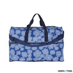 Traveler Station-HAPI+TAS 摺疊圓形旅行袋(大)-392深藍塗鴉花朵