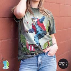 摩達客(預購)美國進口The Mountain 滑板潮流貓 純棉環保藝術中性短袖T恤-3XL