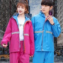 漫遊生活 MY LIFE-安全反光兩段式雨衣套裝(機車/兩件式/雨褲/反光/附收納袋)