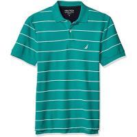 NAUTICA  2020男時尚舒適透氣藍綠白條紋短袖POLO
