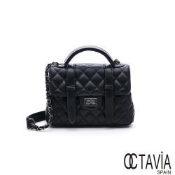 OCTAVIA 8 真皮 - 大黑格系列 3  羊皮菱格雙帶手提肩斜三用機車包 - 名媛黑