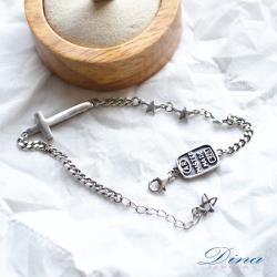 【DINA JEWELRY蒂娜珠寶】 十字星 925純銀手環(WW82239)