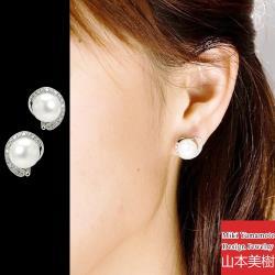 山本美樹 雲轉 淡水珍珠奧地利鑽針式耳環(MIT)