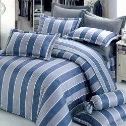 艾莉絲-貝倫 紺青之夜(6x6.2呎)六件式雙人加大(100%純棉)鋪棉床罩組-藍色