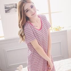 lingling日系 棉質橫條紋短袖連身裙睡衣(全尺碼)