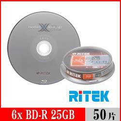 RITEK錸德 6X BD-R 25GB 藍光片 X版/50片布丁桶裝