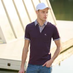 【LEIDOOE】深紫搭配線條假兩件男款短袖POLO衫(76111)