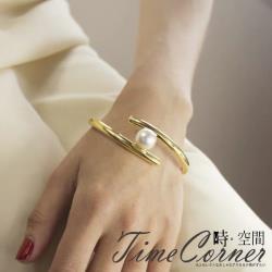 『時空間』理性冷淡風線條造型珍珠手環 -金色