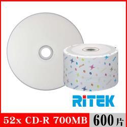 RITEK錸德 52X CD-R白金片 珍珠白滿版可列印/600片裸裝