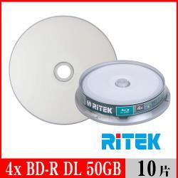 RITEK錸德 4X BD-R DL 50GB 藍光片 珍珠白滿版可列印/10片布丁桶裝