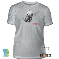 摩達客-預購-美國The Mountain保育系列 拒捕犀牛 灰色修身短袖T恤 柔軟舒適高級混紡