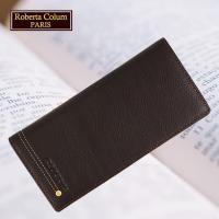 (Roberta Colum)諾貝達 男用皮夾 長夾 專櫃皮夾 進口軟牛皮鉚釘長夾(咖啡色-23158)
