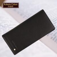 (Roberta Colum)諾貝達 男用皮夾 長夾 專櫃皮夾 進口軟牛皮鉚釘長夾(黑色-23158)
