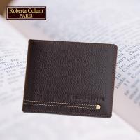 (Roberta Colum)諾貝達 男用皮夾 短夾 專櫃皮夾 進口軟牛皮鉚釘短夾(咖啡色-23151)