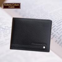 (Roberta Colum)諾貝達 男用皮夾 短夾 專櫃皮夾 進口軟牛皮鉚釘短夾(黑色-23151)