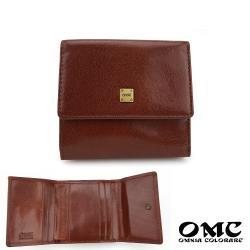 【OMC】義大利植鞣革零錢袋三折牛皮短夾(咖啡)