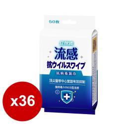 立得清抗流感病毒濕巾(藍)(有蓋)50抽X36包