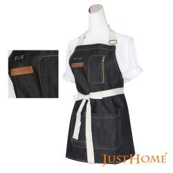 Just Home史代爾丹寧附口袋短版牛仔圍裙(75x63cm)廚房烹飪及居家好幫手