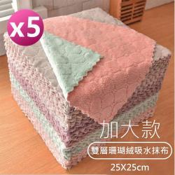 (5條一包)加大雙層珊瑚絨抹布