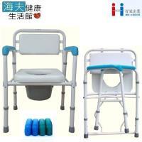 好家機械椅(未滅菌) 海夫健康生活館 台灣製 軟背軟墊 烤漆折疊式 便器椅 便盆椅(A109)