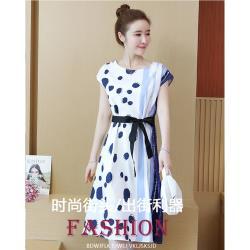 【A3】新款女神款-韓版顯瘦波點雪紡時尚連衣裙(洋裝)-預購