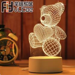 Fit Vitae羋恬家居 USB充電 3D造型LED小夜燈/氣氛燈(愛心熊)