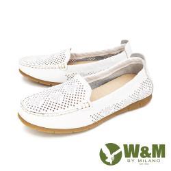 W&M(女) 素面內增高鞋 莫卡辛鞋 樂福鞋 女鞋-白(另有紅. 藍)