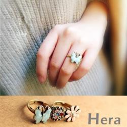 Hera 赫拉 復古彩鑽蝴蝶可調式開口戒指(兩款)