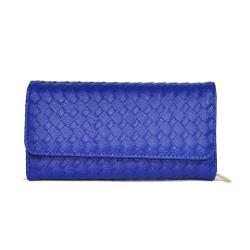 Miyo巴黎時尚風編織釘釦長夾(藍)