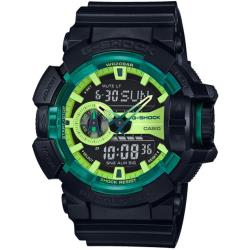 CASIO G-SHOCK 休閒時尚運動雙顯男錶-萊姆綠X藍黑(GA-400LY-1A)