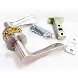 LS-903 SN 日規水平鎖60mm 浴廁鎖 沙白色 無鑰匙 水平把手鎖 圓套盤 通道鎖 廁所門鎖 浴室 更衣間