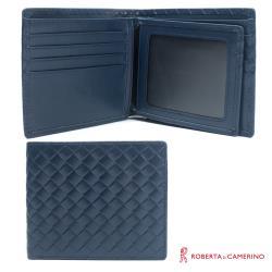 【ROBERTA 諾貝達】編織紋短夾-中翻相片窗-藍色