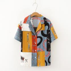 【韓國K.W. 】 (預購) 搶鮮購設計師拼接短袖襯衫上衣