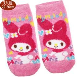 卡通襪美樂蒂襪子短襪羽絨襪直版襪3入組22-26cm 112646【卡通小物】