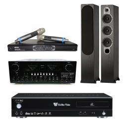 金嗓 Golden Voice CPX-900 R2卡拉OK點歌機4TB+AK-898擴大機+MR-865 PRO無線麥克風+S428黑色主喇叭
