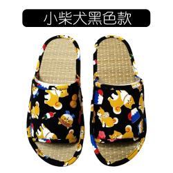 台灣製消臭透氣涼爽藺草室內拖鞋-小柴犬黑色款