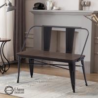 E-home Olga歐加工業風金屬木面高背長板凳 三色可選