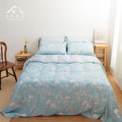 【青鳥家居】吸濕排汗頂級天絲四件式被套床包組-寧靜月葉(雙人)