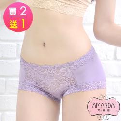 AMANDA艾曼達 棉質純蠶絲褲底 優舒適蕾絲內褲M-XL(買2送1)