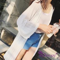 Decoy條紋雪紡 七分袖防曬長版罩衫外套 白L