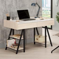 Boden-妮絲4尺二抽仿石面書桌/工作桌(桌下置物架型)