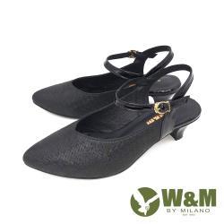 W&M(女) 歐美風 珠光舒適氣墊尖頭涼鞋 中跟鞋 - 黑(另有金)