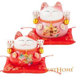【翌軒閣】六福臨門4.5吋招財貓撲滿附坐墊(買一送一)