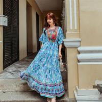 維拉森林-浪漫波西米亞度假復古印花設計款洋裝S-XL(共二色)