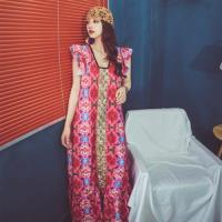 維拉森林-民族風花瓣袖復古繽紛繡花洋裝S-XL(共二色)