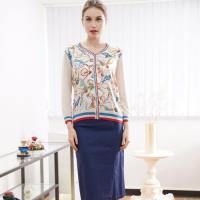 ★精品蠶絲↘闕蘭絹V領鎖鏈米色蠶絲針織罩衫-6823