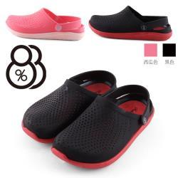 【88%】底厚2cm 百搭洞洞透氣舒適 防水防雨平底圓頭涼拖鞋 海灘鞋 雨鞋