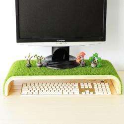 歐士OSHI  輕草地螢幕架/電腦螢幕架/鍵盤收納架/質感實木螢幕架