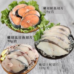 【海之金】海鮮魚片大三元20片組(鮭魚/比目魚/土魠魚)
