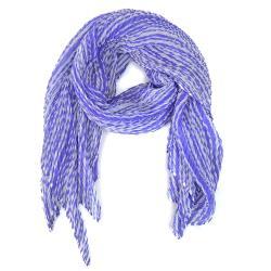 ISSEY MIYAKE 三宅一生LIQUID STRIPE SCARF PP四褶條紋印花斜紋圍巾(紫)